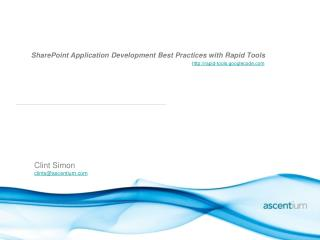 SharePoint Application Development  Best Practices with  Rapid Tools