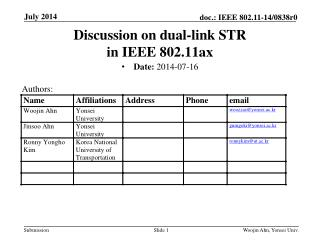 Discussion on dual-link STR  in IEEE 802.11ax
