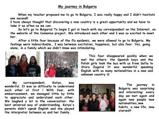 My journey in Bulgaria