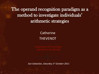 The operand recognition paradigm as a method to investigate individuals' arithmetic strategies