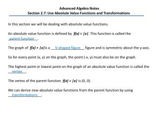 Advanced Algebra Notes Section 2.7: Use Absolute Value Functions and Transformations