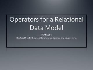 Operators for a Relational Data Model