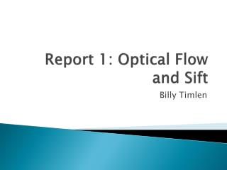 Report 1: Optical Flow and Sift