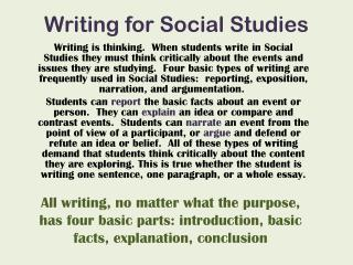 Writing for Social Studies