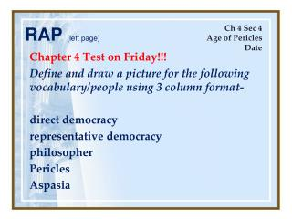 Chapter 4 Test on Friday!!!