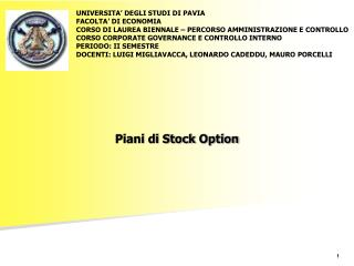 Piani di Stock  Option