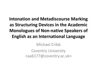 Michael Cribb Coventry University <aa6177@coventry.ac.uk>