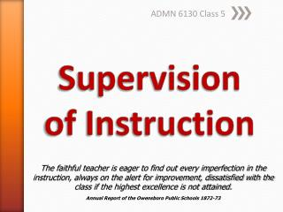 Supervision  of  Instruction