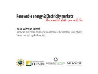 Renewable energy & Electricity markets