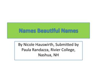 Names Beautiful Names