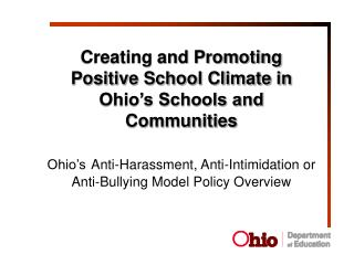 Creating and Promoting Positive School Climate in Ohio's Schools and Communities