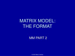 MATRIX MODEL:                            THE FORMAT