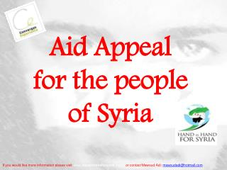 Aid Appeal   for the people of Syria