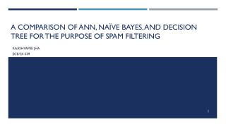 A comparison of ANN, Naïve Bayes, and Decision Tree for the purpose of spam filtering