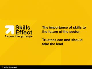 The importance of skills to the future of the sector. Trustees can and should take the lead
