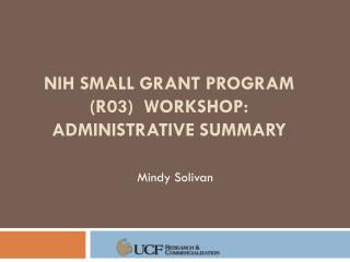 Nih  small grant program (R03)  Workshop: Administrative Summary