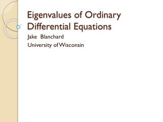 Eigenvalues of Ordinary Differential Equations