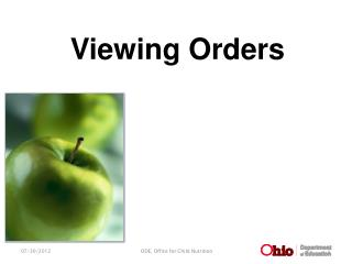 Viewing Orders