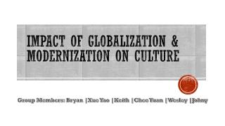Impact of Globalization & Modernization on Culture