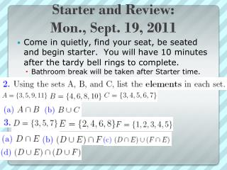 Starter and Review: Mon., Sept. 19, 2011