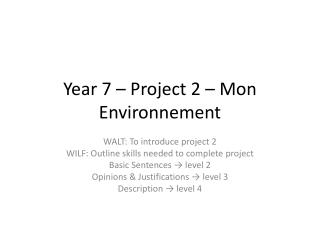 Year 7 – Project 2 – Mon  Environnement