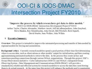 OOI-CI & IOOS-DMAC Intersection Project FY2010