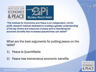 What are the best arguments for putting peace on the table? Peace is Quantifiable
