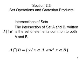 Section 2.3  Set Operations and Cartesian Products