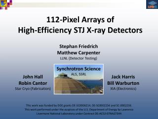 112-Pixel Arrays of High-Efficiency STJ X-ray Detectors