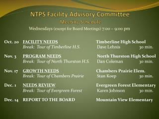 NTPS Facility Advisory Committee  Meeting Schedule