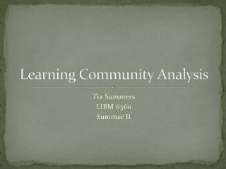 Learning Community Analysis