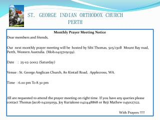 ST. GEORGE INDIAN ORTHODOX CHURCH PERTH