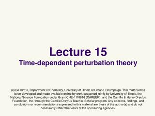 Lecture 15 Time-dependent perturbation theory