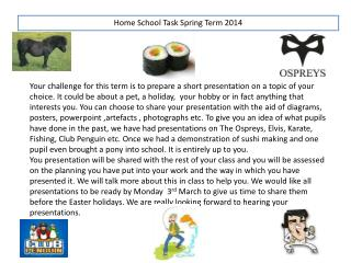 Home School Task Spring Term 2014