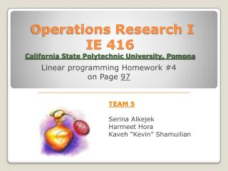 Operations Research I  IE 416 California State Polytechnic University, Pomona