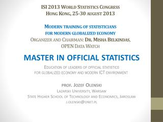 master in  official statistics