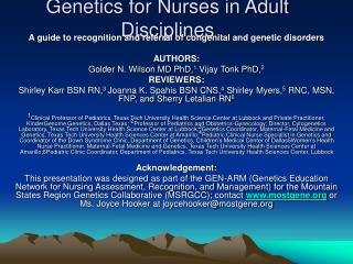Genetics for Nurses in Adult Disciplines