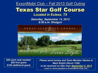 ExxonMobil Club – Fall  2013  Golf Outing
