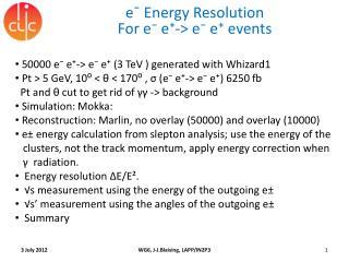 e¯ Energy Resolution For  e⁻ e⁺-> e⁻ e⁺ events