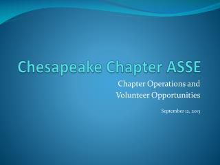 Chesapeake Chapter ASSE