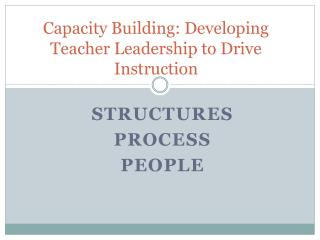 Capacity Building: Developing Teacher Leadership to Drive Instruction