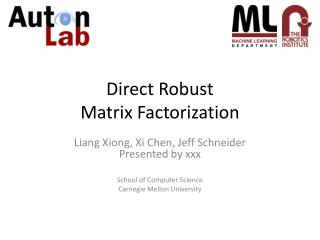 Direct Robust  Matrix Factorization
