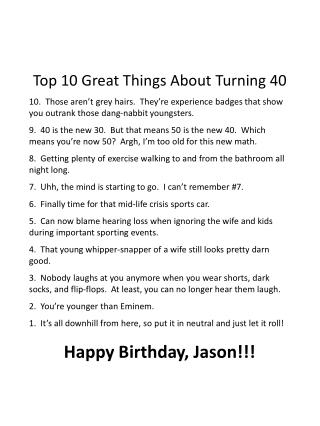 Top 10 Great Things About Turning 40
