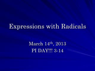 Expressions with Radicals