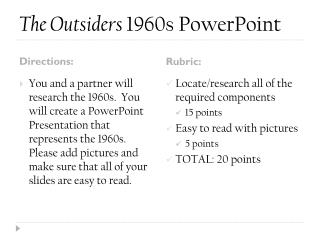 The Outsiders  1960s PowerPoint