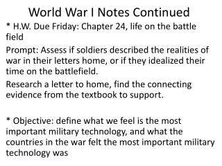 World War I Notes Continued