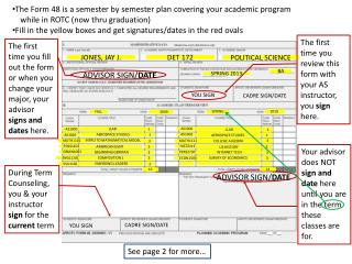 The Form 48 is a semester by semester plan covering your academic program