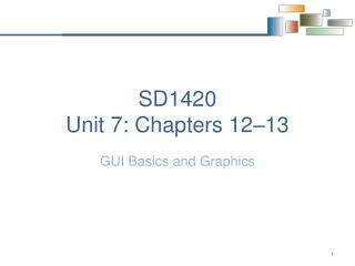 SD1420 Unit 7:  Chapters 12–13