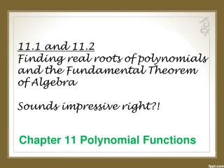 Chapter 11 Polynomial Functions