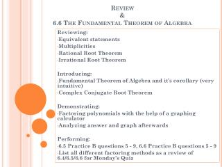 Review &  6.6 The Fundamental Theorem of Algebra
